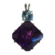 Amethyst Regular Magician Stone™  with Round Blue Topaz