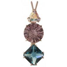 Amethyst Super Nova™  with Trillion Cut Mystic Topaz & Mini Magician Tibetan Blue Obsidian