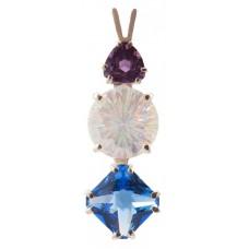Angel Aura Super Nova™  with Trillion Cut Amethyst & Mini Magician Siberian Blue Quartz