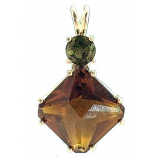 Citrine Small Magician Stone with Round Moldavite