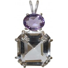 Clear Quartz Earth Heart Crystal™  with Oval Cut Amethyst