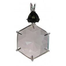 Clear Quartz Flower of Life™  with Trillion Cut Moldavite