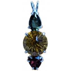 Citrine Super Nova™ with Pear Cut Moldavite & Trillion Garnet
