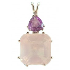 Rose Quartz Earth Heart Crystal™  with Trillion Amethyst