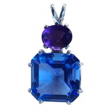 Siberian Blue Quartz Earth Heart Crystal™  with Oval Amethyst