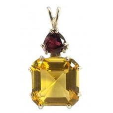 Siberian Gold Quartz Earth Heart Crystal™  with Trillion Rhodolite Garnet