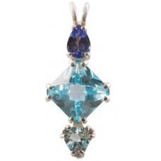 Blue Topaz Mini Magician Stone™  with Pear Cut Tanzanite & Trillion Cut Aquamarine