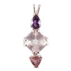 Rose Quartz Mini Magician Stone™  with Pear Cut Amethyst & Trillion Cut Pink Tourmaline