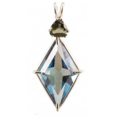 Aqua Aura Ascension Star™  with Trillion Cut Moldavite