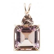 Amethyst Earth Heart Crystal™  with Trillion Cut Morganite