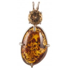 Amber with Round Cut Citrine