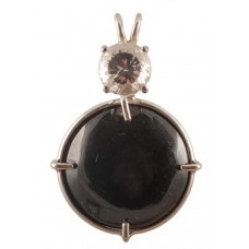 Black Jade with Round Portuguese Cut White Topaz