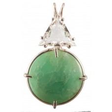 Chrysoprase with Triangle Cut White Topaz