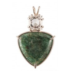 Green Aventurine with Square Cut White Topaz