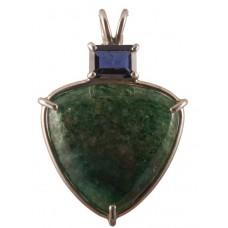 Green Aventurine with Emerald Cut Iolite