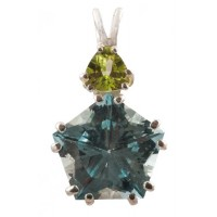 Blue Topaz Star of Venus™ with Trillion Cut Peridot