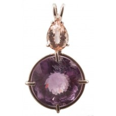 Amethyst Radiant Heart Crystal™ with Pear Cut Morganite