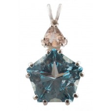 Blue Topaz Star of Venus™ with Trillion Cut Morganite