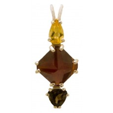 Hessonite Garnet Mini Magician Stone™ with Pear Cut Citrine & Trillion Cut Smokey Quartz