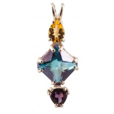 Aqua Aura Mini Magician Stone™ with Pear Cut Citrine & Trillion Cut Amethyst