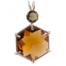 Citrine Flower of Life™ with Round Cut Moldavite