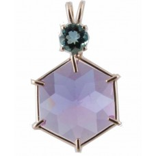 Ruby Lavender Quartz Flower of Life™ with Round Cut Tibetan Blue Obsidian