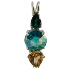 Aqua Aura Mini Radiant Heart™ with Pear Cut Green Tourmaline & Trillion Cut Citrine