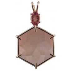 Rose Quartz Flower of Life™ with Oval Cut Pink Tourmaline