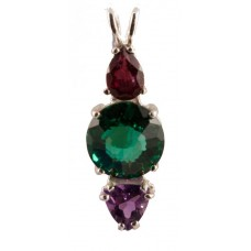 Siberian Green Quartz Mini Radiant Heart™ with Pear Cut Rhodolite Garnet & Trillion Cut Amethyst