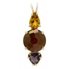 Hessonite Garnet Mini Magician Stone™ with Pear Cut Yellow Tourmaline & Trillion Cut Iolite