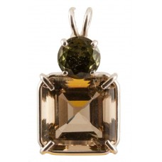 Citrine Earth Heart Crystal™ with Round Cut Moldavite
