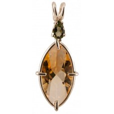 Citrine Infinite Eye™ with Pear Cut Moldavite