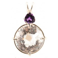 Clear Quartz Radiant Heart Crystal™ with Trillion Cut Amethyst