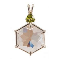 Clear Quartz Flower of Life™ with Trillion Cut Peridot