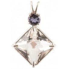 Clear Quartz Small Magician Stone™ with Round Cut Iolite