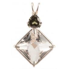 Clear Quartz Small Magician Stone™ with Trillion Cut Moldavite