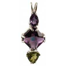 Siberian Purple Quartz Mini Magician Stone™ with Pear Cut Amethyst & Trillion Cut Peridot