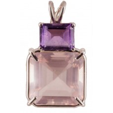 Rose Quartz Earth Heart Crystal™ with Emerald Cut Amethyst