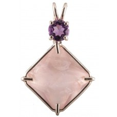 Rose Quartz Small Magician Stone™ with Round Cut Amethyst