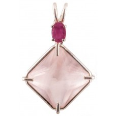 Rose Quartz Small Magician Stone™ with Oval Cut Ruby