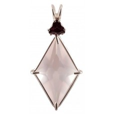 Rose Quartz Ascension Star™ with Trillion Cut Rhodolite Garnet