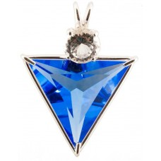 Siberian Blue Quartz Angelic Star™ with Round Portuguese Cut White Topaz