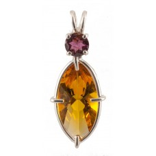 Siberian Gold Quartz Infinite Eye™ with Round Cut Rhodolite Garnet