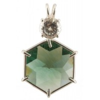 Siberian Green Quartz Flower of Life™ with Round Cut White Topaz