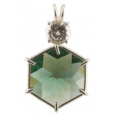 Siberian Green Quartz Flower of Life™ with Round Portuguese Cut White Topaz