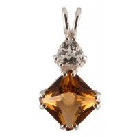 Siberian Gold Quartz Mini Magician Stone™ with Trillion Cut White Topaz