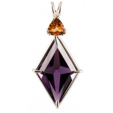 Siberian Purple Quartz Ascension Star™ with Trillion Cut Citrine