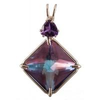 Tanzine Aura Small Magician Stone™ with Trillion Cut Amethyst